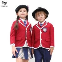 Custom Made Cotton Children School Uniform Cardigan Sweater for Boys and Girls