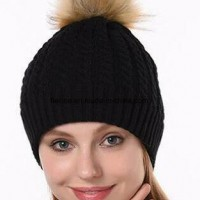 2018 Newest Acrylic Cable Knitting Fur Pompom Hat