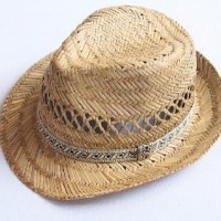Rush Straw Raffia Straw Handknitted Leisure Cowboy Panama Summer Sun Protect Beach Hat