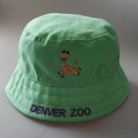 100% Cotton Twill Brushed Animal Logo Embroidery Youth Bucket Hat