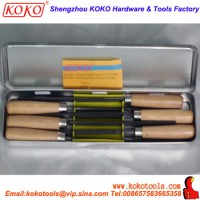 Stationary Metal Box Packing Wooden Handle professional Cut 6PCS Key File Set (07390)
