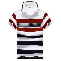 Customized Logo Mens Casual Striped Polo Shirt Cotton Polo T Shirts for Men