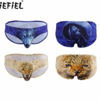 Mens Lingerie Wolf/Leopard Printing Bulge Pouch Bikini Briefs Underwear