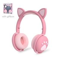 Glowing Bluetooth Headset Mobile Phone Stereo Foldable Cartoon Wireless Cat Ear Paw Children Bk1 Hea