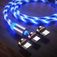 Factory Magnetic Fast Charging USB Cable Flowing Light Phone Accessories Cable USB LED Luminous Micr