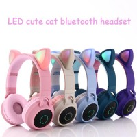 Cat Ear Headband Noise Canceling Gamer Gaming Earphones Headphones Headsets Small Blue Tooth Wireles