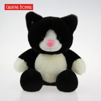 Plush Stuffed Toy Rabbit Fabric Fur Black Sitting Cat 20cm 30cm