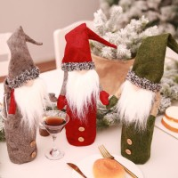 Soft Stuffed Plush Baby Toy Christmas Decorations Faceless Dolls Wine Bottles Set Hold